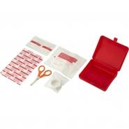 Apteczka, zestaw pierwszej pomocy w etui, zawiera 5 plastrów, 2 chusteczki nasączone alkoholem, 1  rolkę taśmy oraz 1 nożyczki (V8556-05)