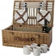Kosz piknikowy z nakryciem dla 4 osób, zawiera: sztućce ze stali nierdzewnej z plastikowymi uchwytami, 4 ceramiczne talerze, 4 ceramiczne kubki 210ml (V8648-00)