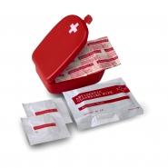 Apteczka, zestaw pierwszej pomocy, zawiera 2 chusteczki nasączone alkoholem, antyseptyczną chusteczkę i 2 bandaże (V5475-05)