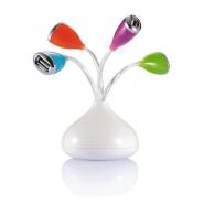 4 portowy hub USB w kształcie kwiatków z diodą LED, porty w kolorach pomarańcz, błękit, róż, zieleń (V3155-02)
