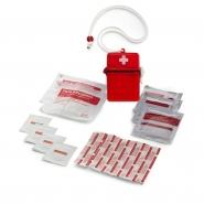 Apteczka, zestaw pierwszej pomocy w wodoszczelnym pudełku, zawiera 2 jałowe opatrunki, 5 plastrów, 4 chusteczki nasączone alkoholem, wilgotną chusteczkę, chusteczkę antyseptyczną, chusteczkę przeciw komarom (V6475-05)